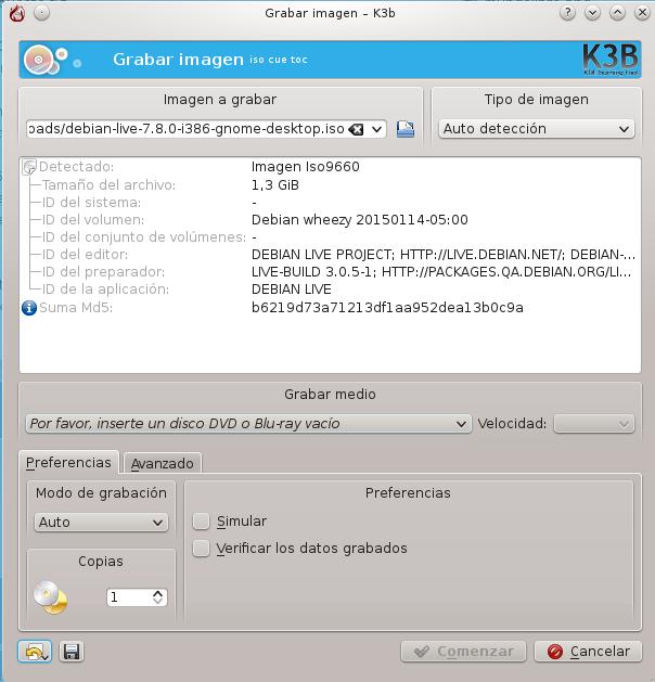 Para grabar en formato óptico yo utilizo brasero cuando estoy en GNOME o k3b