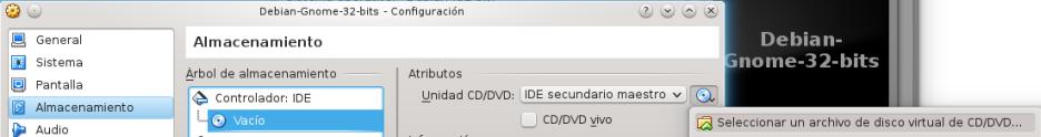 Seleccionar un archivo de disco virtual
