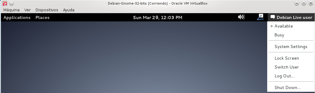"""Desde el menú superior derecho """"Debian Live User"""" y elegimos Shutdown"""