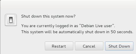 """Desde el menú superior derecho """"Debian Live User"""", elegimos Shutdown y Restart"""