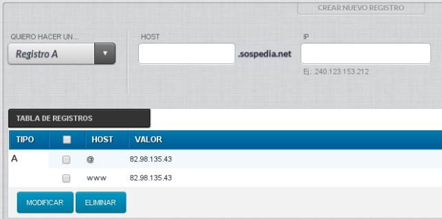 Detalle de la configuración por defecto del nuevo dominio sospedia.net