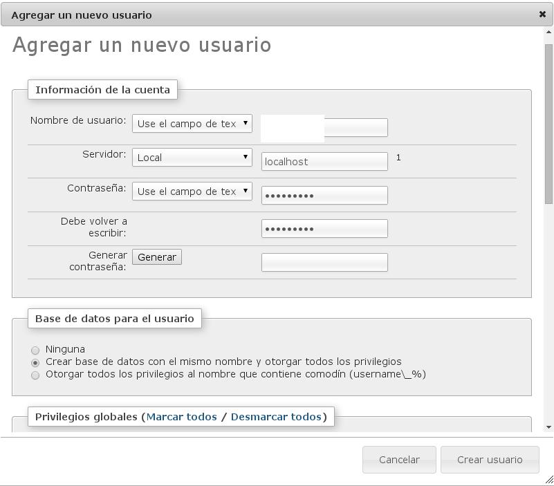Al crear la base de datos para albergar el CMS WordPress os recomendamos que sólo sirva por localhost