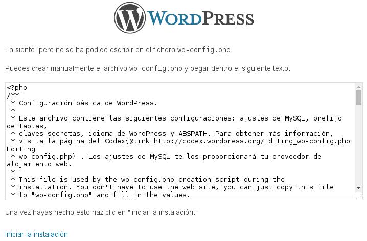 Tenemos problemas de permisos y WordPress no puede escribir el archivo de configuración