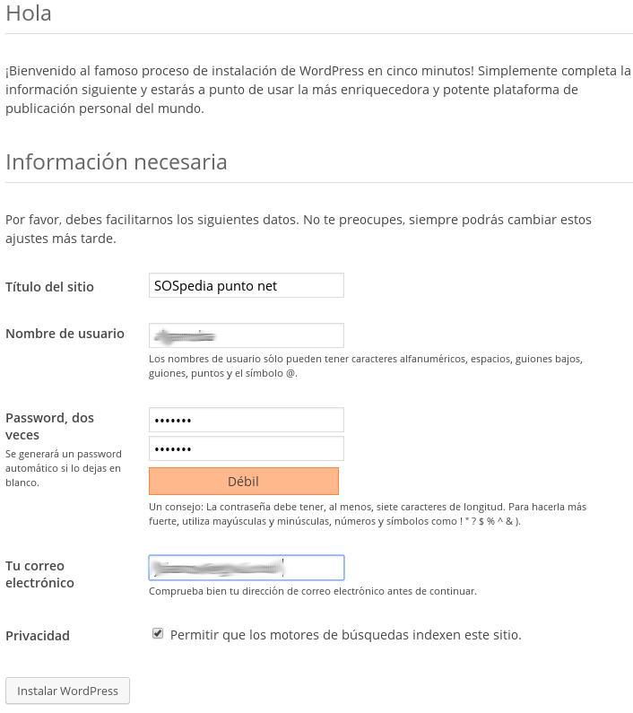 Información básica del sitio y del primer usuario (administrador)