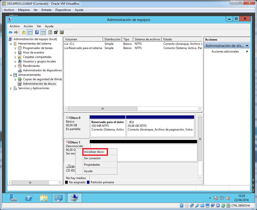 Crear volumen en administrador de discos