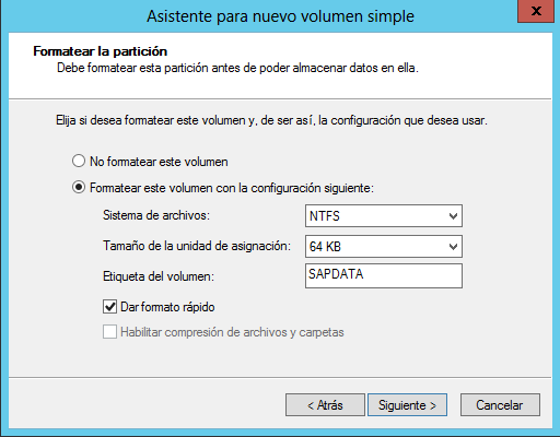 Crear volumen simple formatear