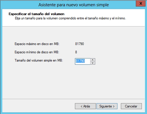 Crear volumen simple todo el espacio disponible