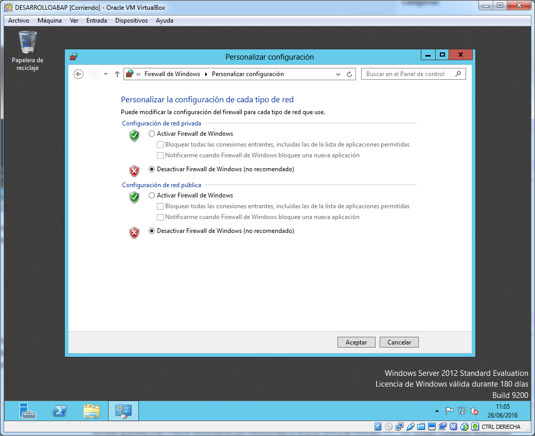 Desactivar firewall de windows
