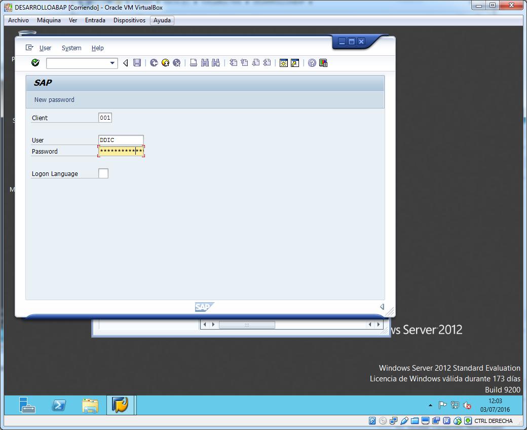 Primer acceso a SAP