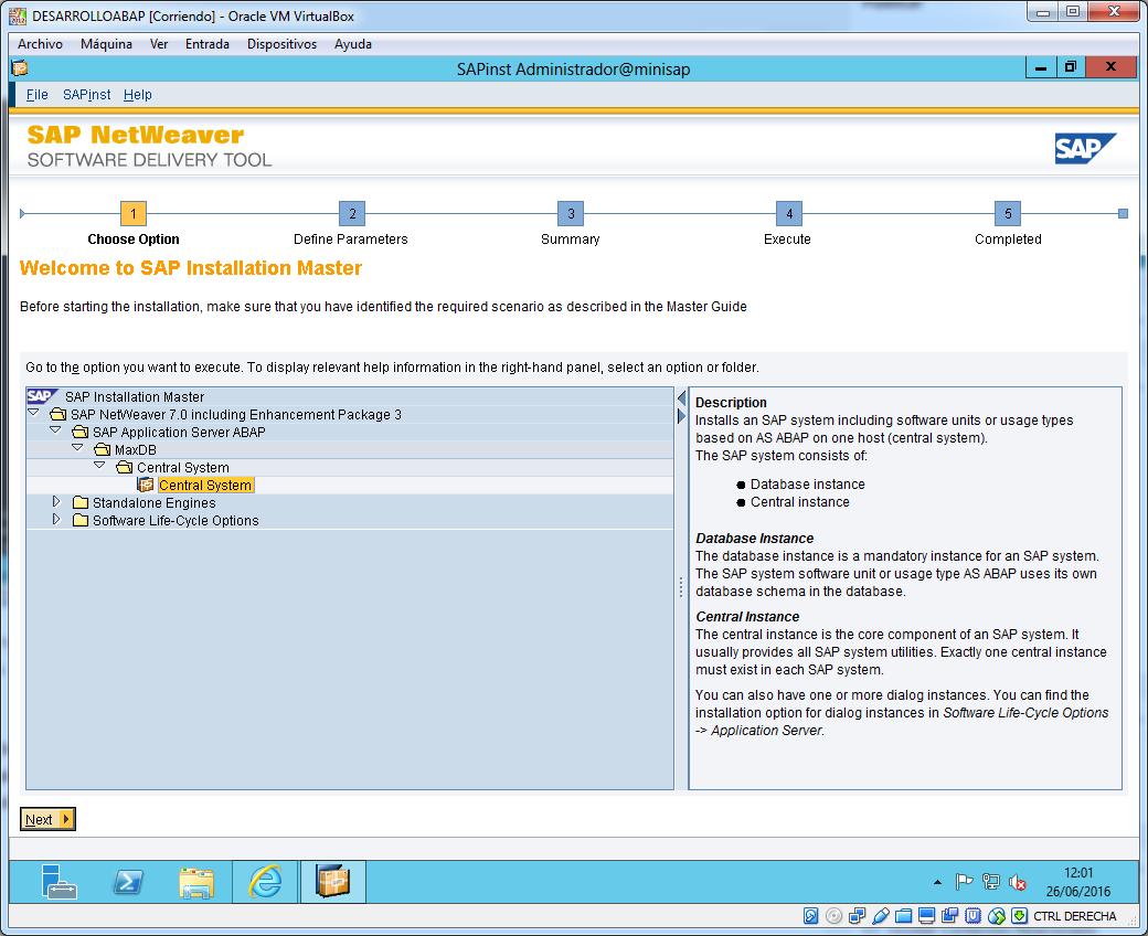Primera pantalla instalador SAP