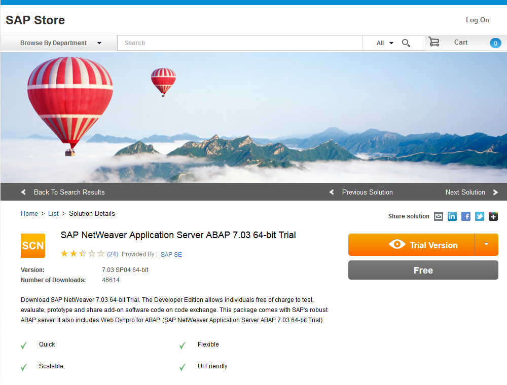 SAP NetWeaver Application Server ABAP 7.03 64-bit Trial