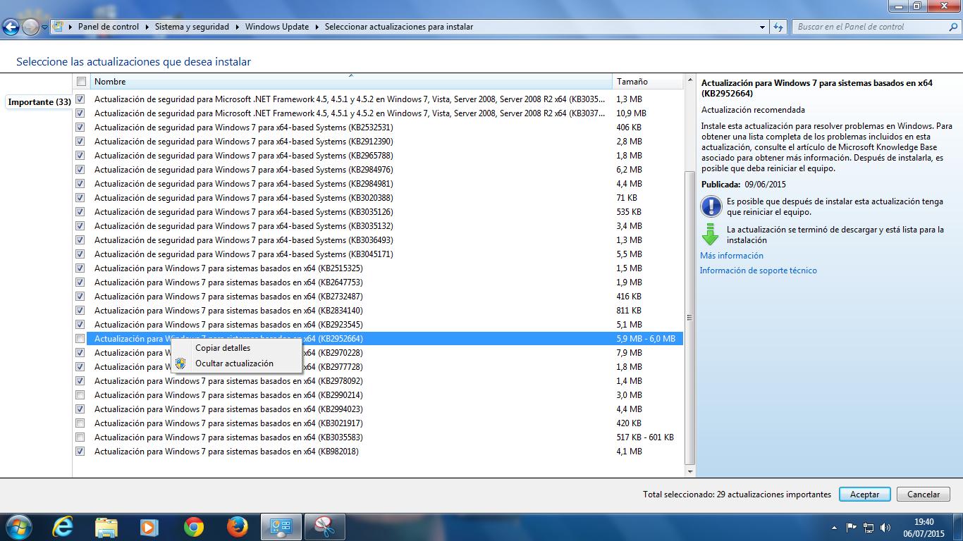 como ocultar actualizaciones Windows Update