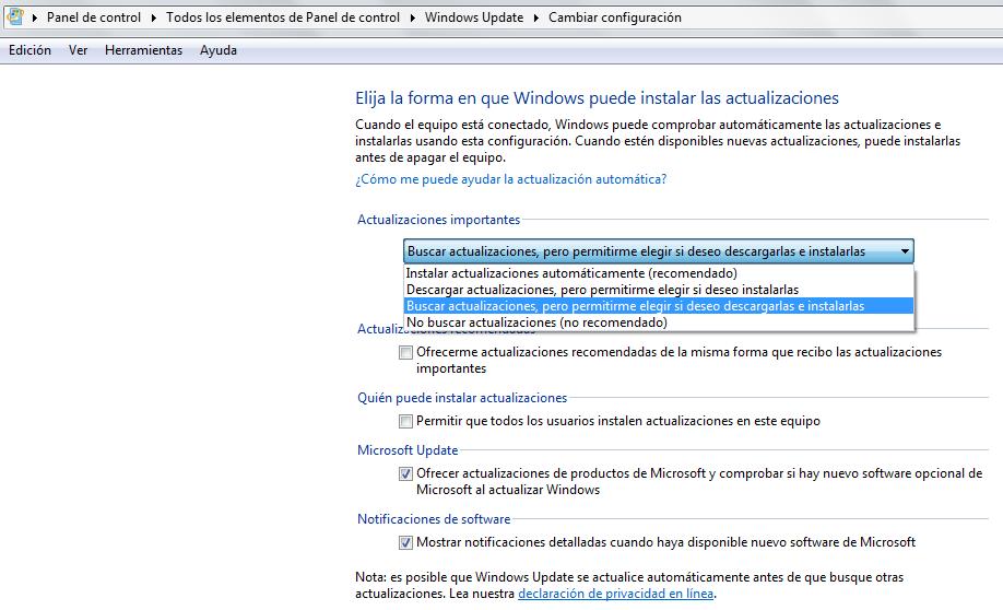 Configuración recomendada para Windows Update