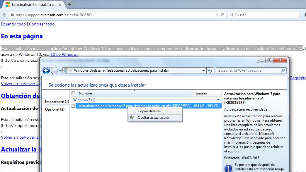Cómo ocultar una actualización de Windows Update para que no vuelva a sugerir instalarla