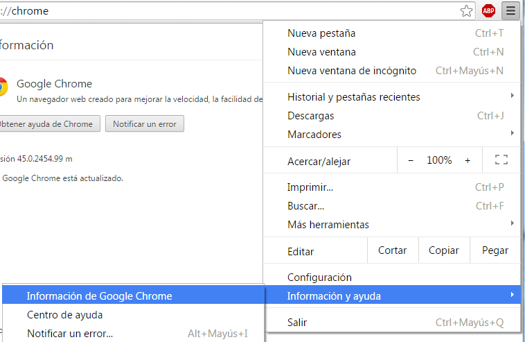 Cómo actualizar Google Chrome