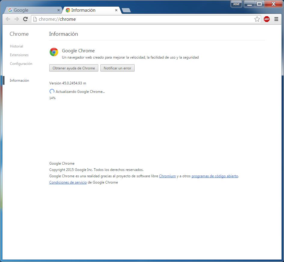 Google Chrome, comprobando actualizaciones