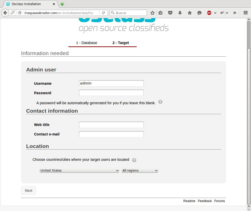 """osclass - evitar utilizar el usuario """"admin"""" por defecto, por el mismo comentario que los prefijos de las tablas"""