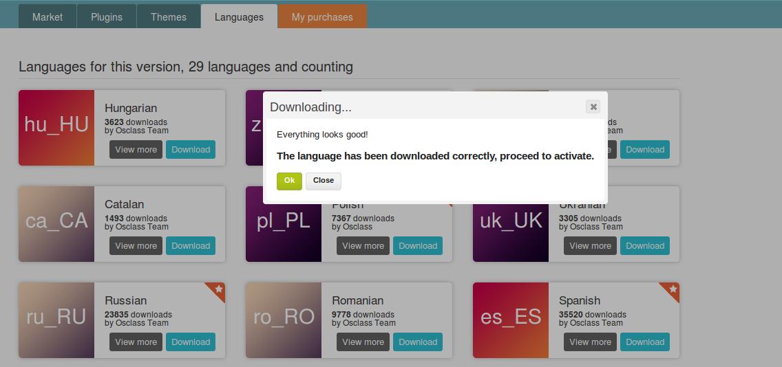osclass - descargar idioma y activarlo desde el market