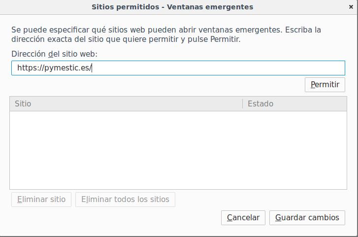 Ventanas emergentes en Firefox añadir una excepción