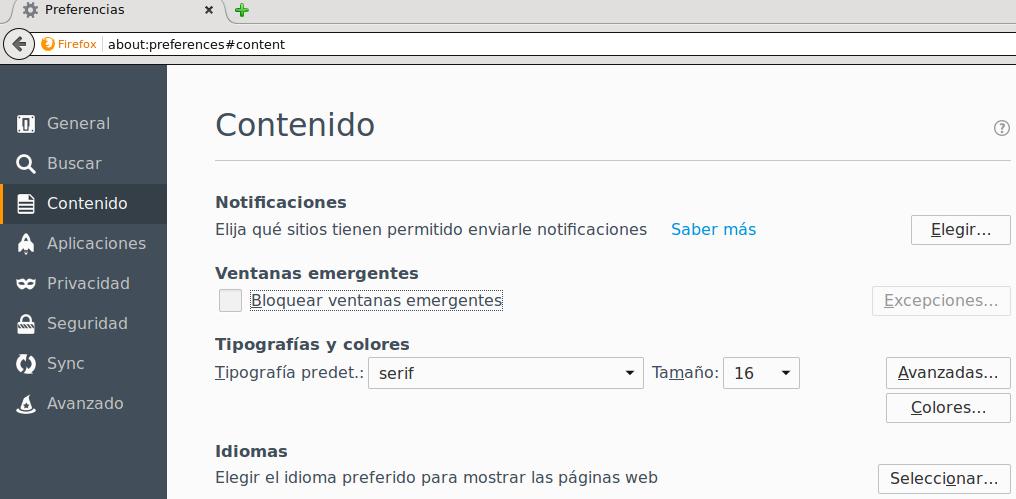 Desactivar ventanas emergentes en Firefox