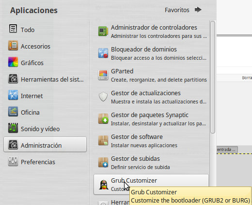 Grub customizer lanzador