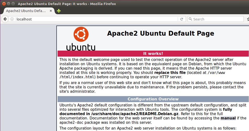 Pantalla de inicio de Apache 2